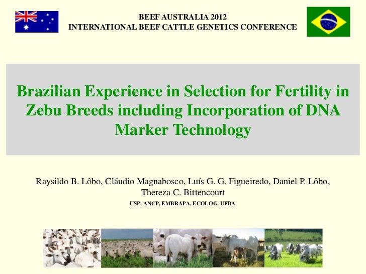 BEEF AUSTRALIA 2012          INTERNATIONAL BEEF CATTLE GENETICS CONFERENCEBrazilian Experience in Selection for Fertility ...