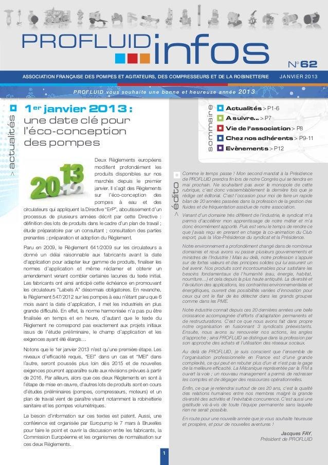 PROFLUID Infos N°62 - Janvier 2013