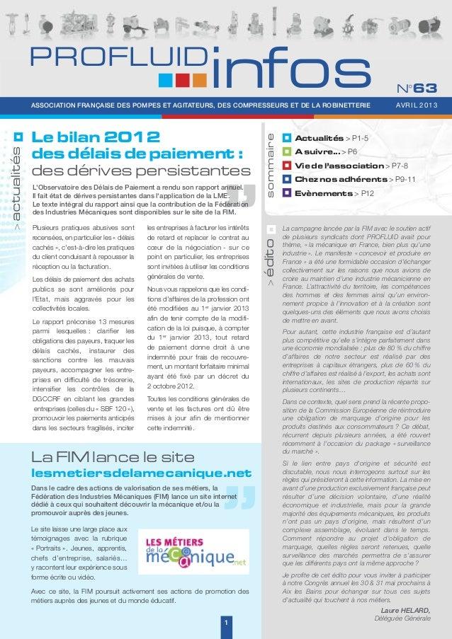 PROFLUID Infos N°63 - Avril 2013