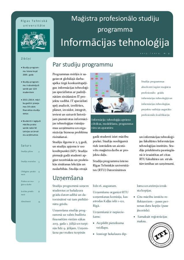 """RTU maģistra profesionālo studiju programma """"Informācijas tehnoloģija"""""""