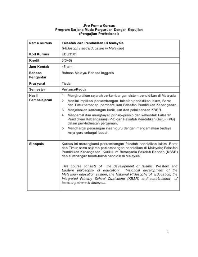 .Pro Forma Kursus               Program Sarjana Muda Perguruan Dengan Kepujian                            (Pengajian Profe...