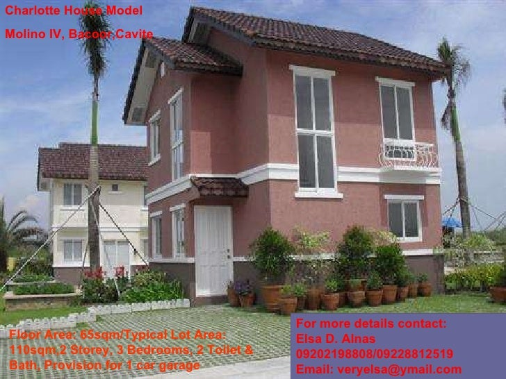 Charlotte House Model Molino IV, Bacoor,Cavite Floor Area: 65sqm/Typical Lot Area: 110sqm,2 Storey, 3 Bedrooms, 2 Toilet &...