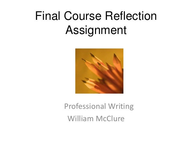 Final Course Reflection Assignment  Professional Writing William McClure