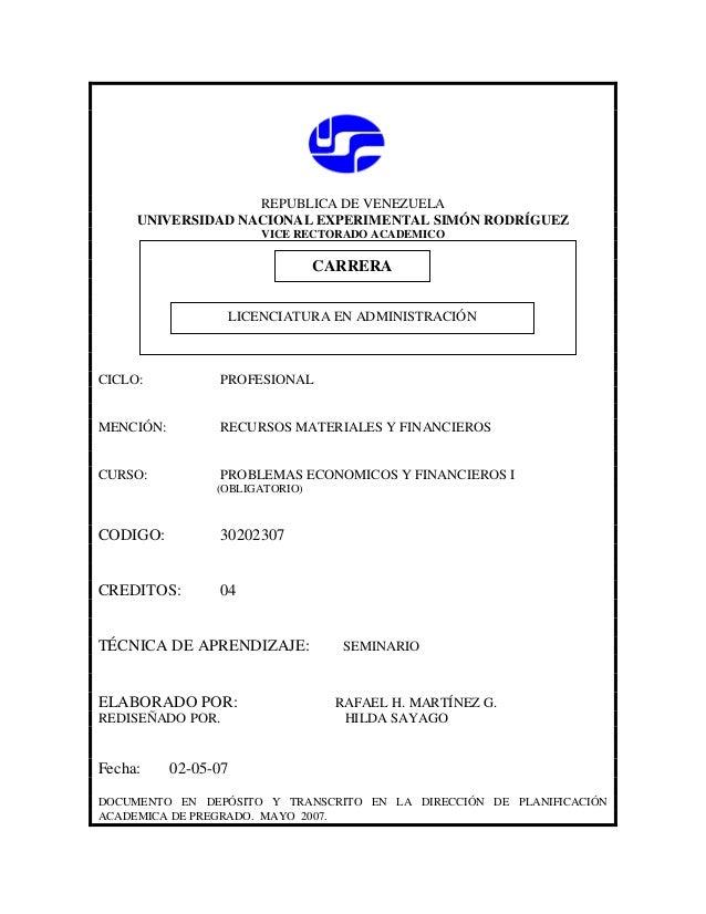 REPUBLICA DE VENEZUELA UNIVERSIDAD NACIONAL EXPERIMENTAL SIMÓN RODRÍGUEZ VICE RECTORADO ACADEMICO  CARRERA CARRERA LICENCI...