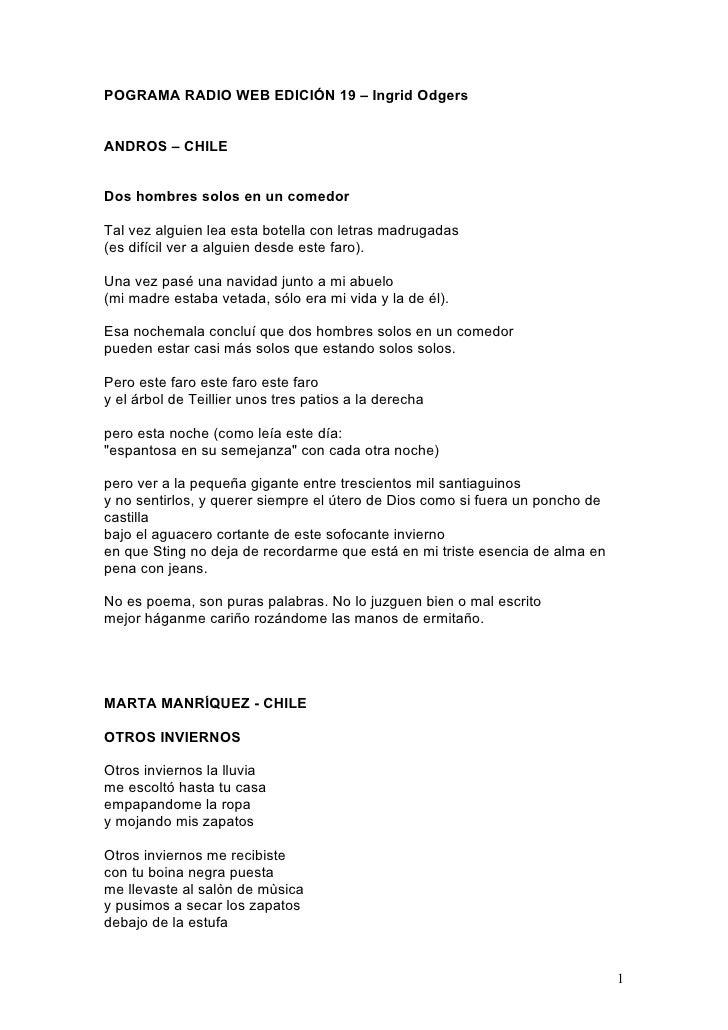 POGRAMA RADIO WEB EDICIÓN 19 – Ingrid Odgers   ANDROS – CHILE   Dos hombres solos en un comedor  Tal vez alguien lea esta ...