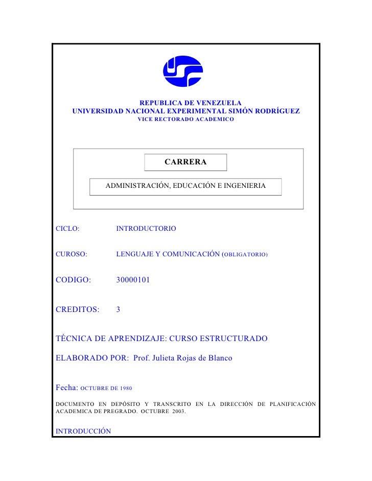 REPUBLICA DE VENEZUELA     UNIVERSIDAD NACIONAL EXPERIMENTAL SIMÓN RODRÍGUEZ                          VICE RECTORADO ACADE...