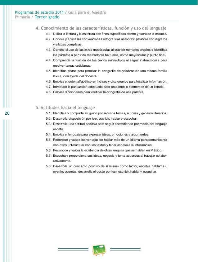 Programa de estudio 2011 guia para el maestro primaria for Programa de cuarto