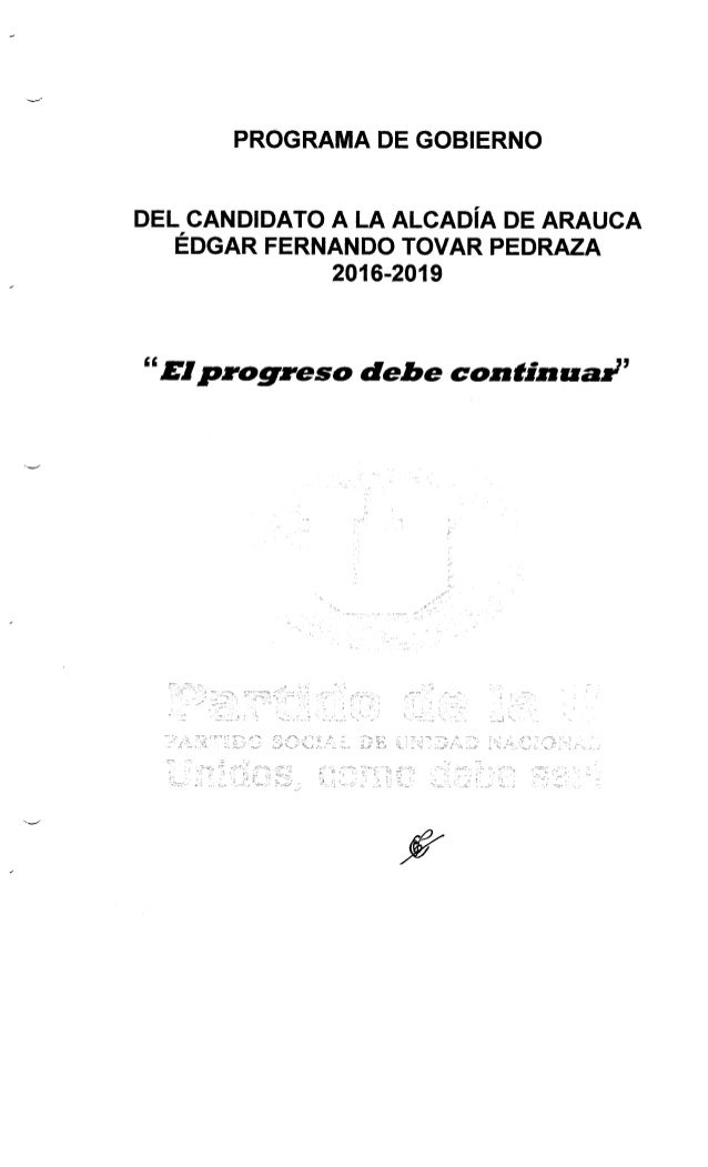 Programa de Gobierno Edgar Tovar