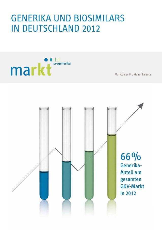 GENERIKAMARKT IN Generika und Biosimilars DEUTSCHLAND in Deutschland 2012  Marktdaten Pro Generika 2012 Marktdaten Pro Gen...
