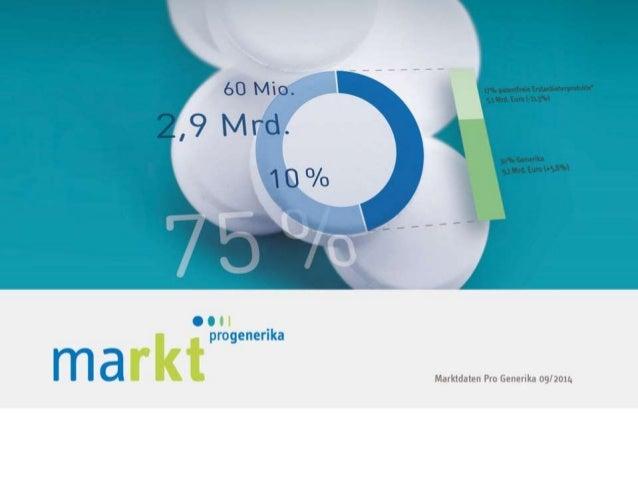 2  MARKT IM ÜBERBLICK  Kapitel 1   Marktdaten von Pro Generika 09/2014