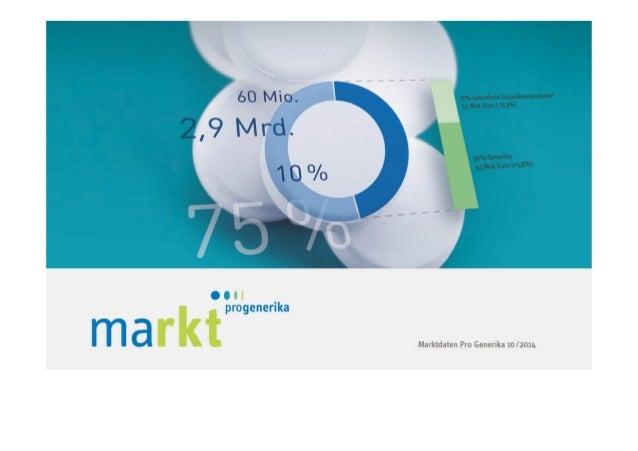 2  MARKT IM ÜBERBLICK  Kapitel 1 | Marktdaten von Pro Generika 10/2014