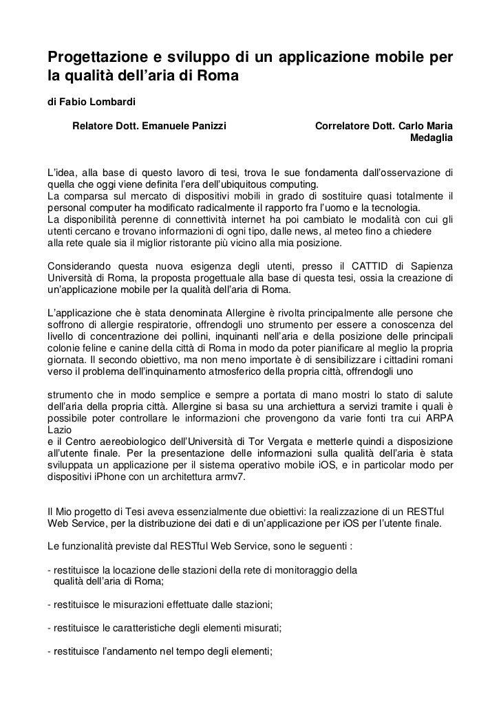 Progettazione e sviluppo di un applicazione mobile perla qualità dell'aria di Romadi Fabio Lombardi      Relatore Dott. Em...