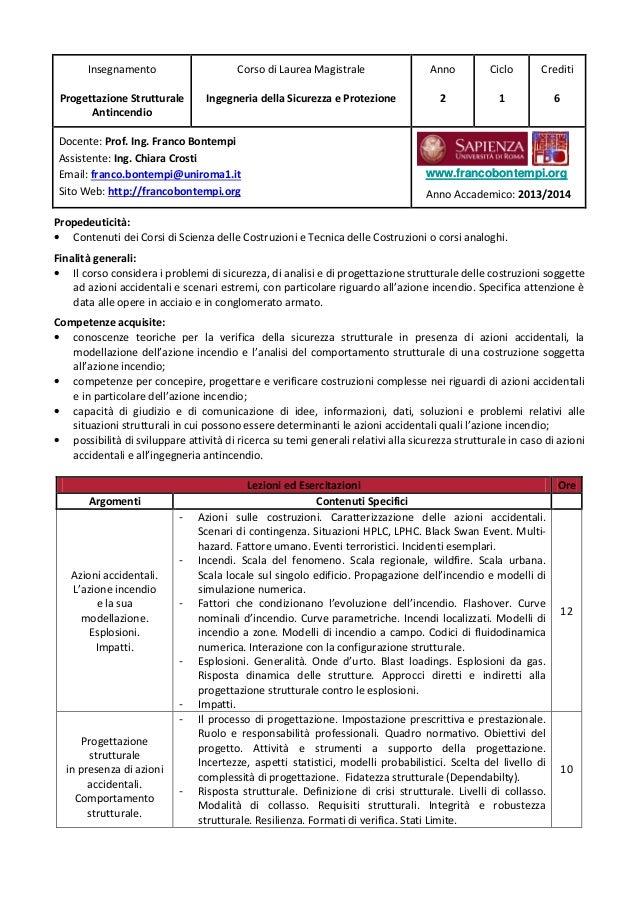 Insegnamento Progettazione Strutturale Antincendio Corso di Laurea Magistrale Ingegneria della Sicurezza e Protezione Anno...