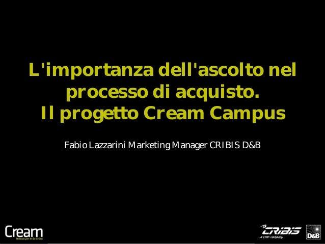 Limportanza dellascolto nel     processo di acquisto. Il progetto Cream Campus   Fabio Lazzarini Marketing Manager CRIBIS ...