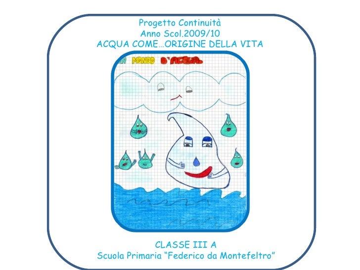 Progetto acqua scuola primaria classe seconda