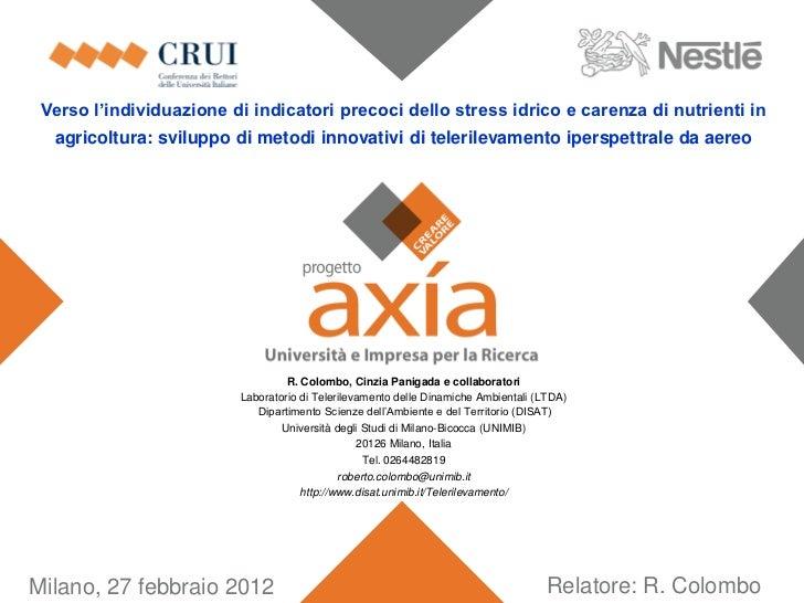 Progetto Axia - Indicatori stress idrico - 27.02.2012