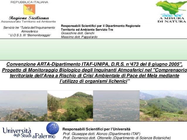 Responsabili Scientifici per l'Università Prof. Giuseppe dott. Alonzo (Dipartimento ITAF) Prof. Domenico dott. Ottonello (...