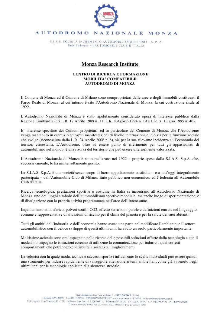 Monza Research Institute                                 CENTRO DI RICERCA E FORMAZIONE                                   ...