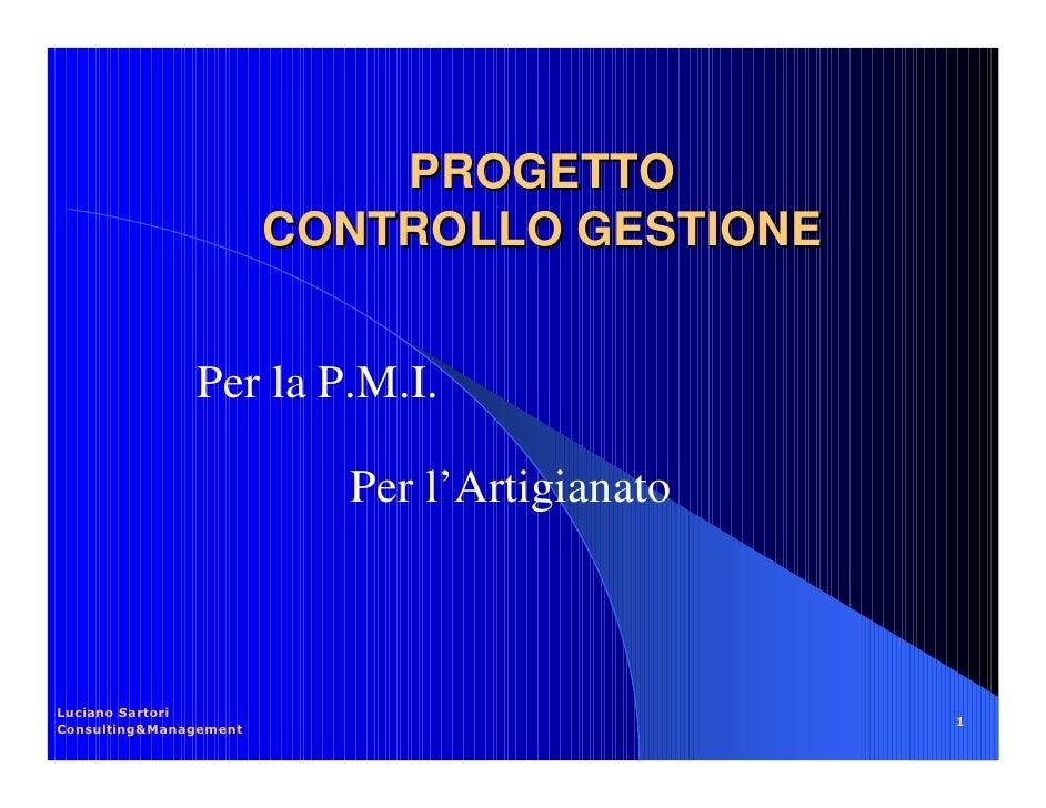 PROGETTO   CONTROLLO GESTIONEPer la P.M.I.        Per l'Artigianato