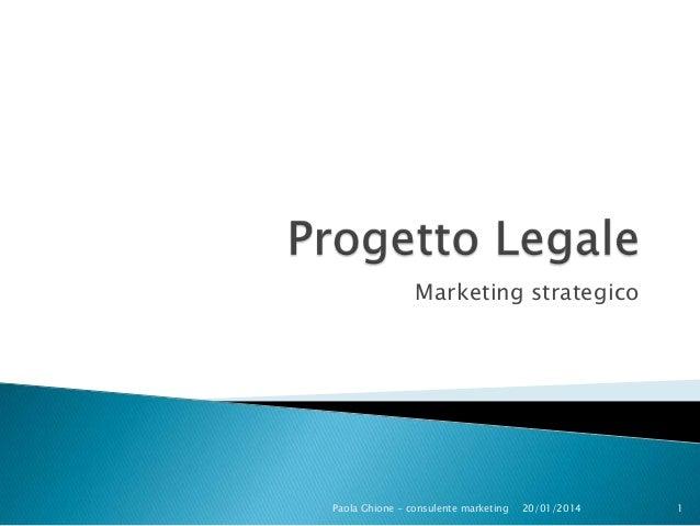 Marketing strategico  Paola Ghione - consulente marketing  20/01/2014  1