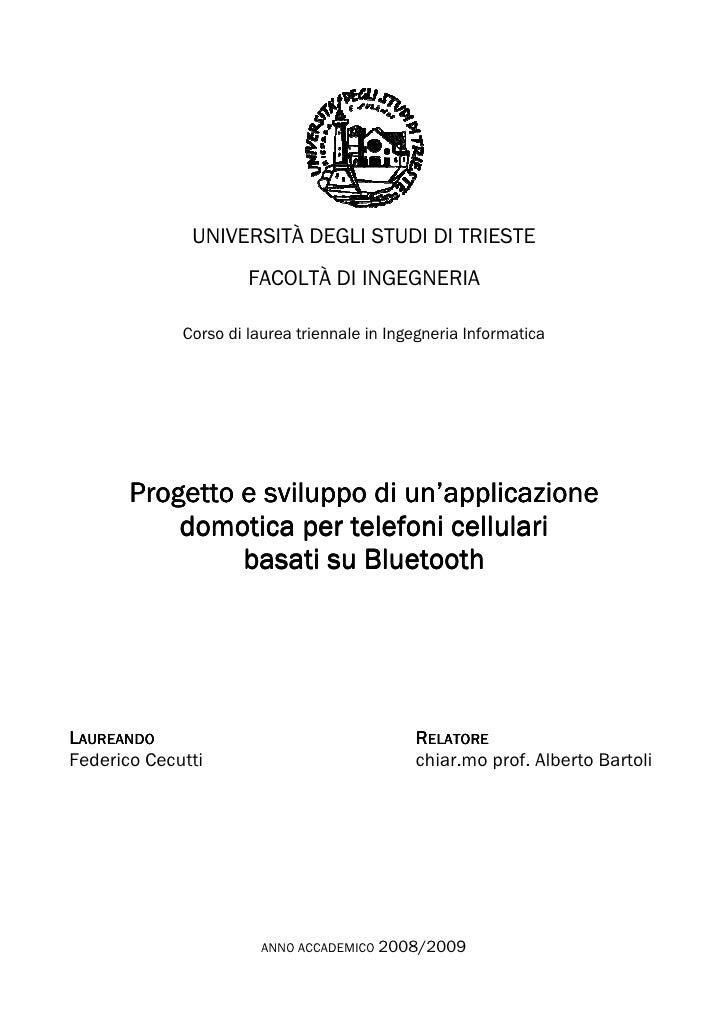 Cecutti Federico - Progetto e sviluppo di un'applicazione domotica per telefoni cellulari basati su Bluetooth