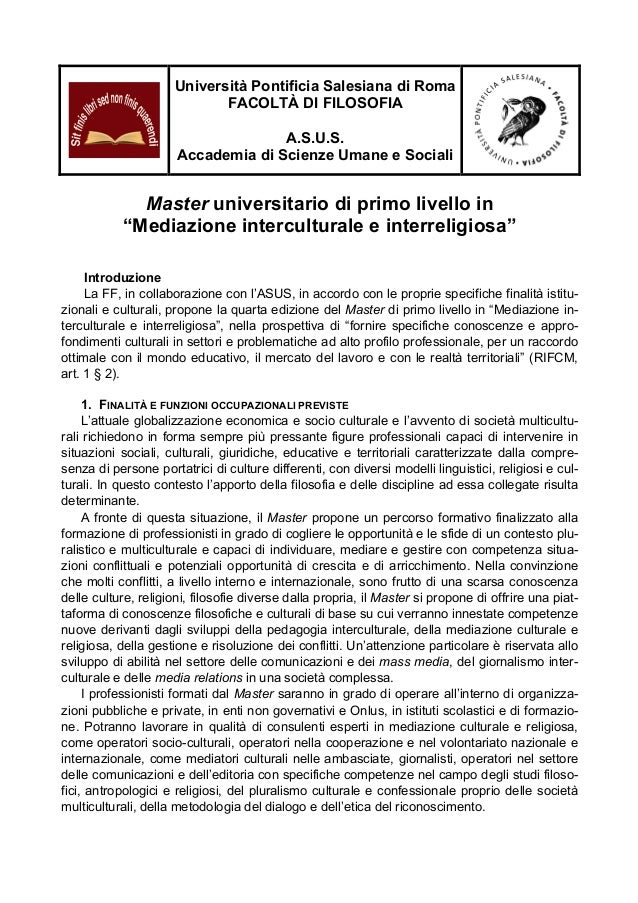 Università Pontificia Salesiana di Roma FACOLTÀ DI FILOSOFIA A.S.U.S. Accademia di Scienze Umane e Sociali  Master univers...