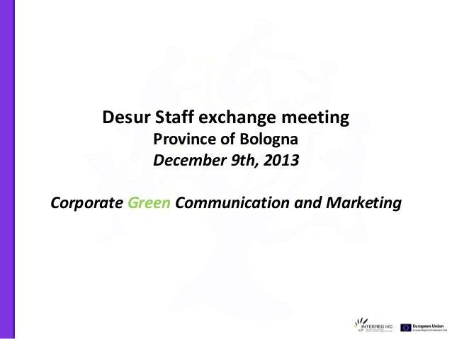Progetto UE Desur Corporate Green Communication and Marketing