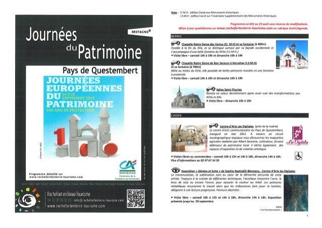 Programme des Journées européennes du Patrimoine - Rochefort-en-Terre Tourisme