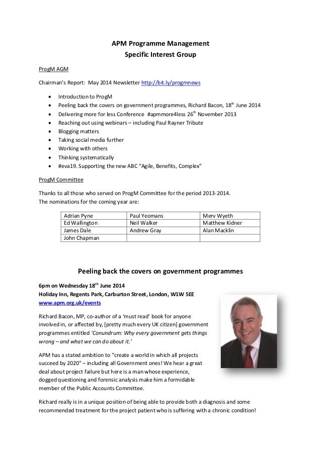 APM Programme Management Specific Interest Group ProgM AGM Chairman's Report: May 2014 Newsletter http://bit.ly/progmnews ...