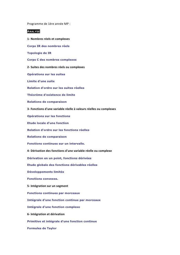 Programmede1èreannéeMP:  ANALYSE  1‐Nombresréelsetcomplexes  Corps IR des nombres réels  Topologie de IR  Corps...