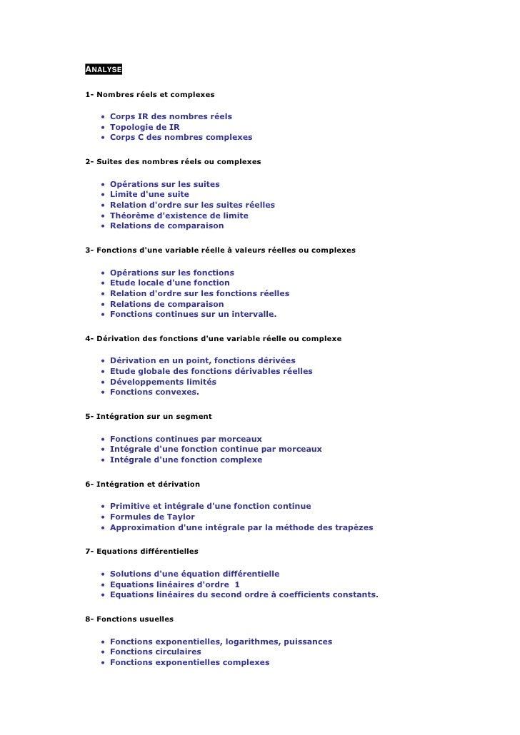 ANALYSE  1- Nombres réels et complexes      • Corps IR des nombres réels    • Topologie de IR    • Corps C des nombres com...