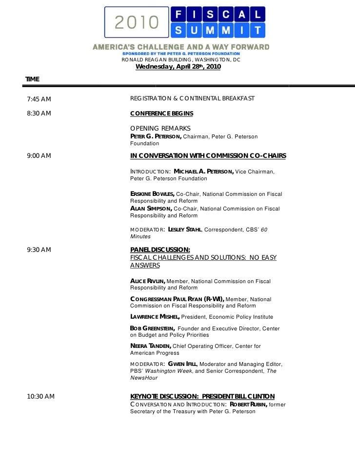 RONALD REAGAN BUILDING, WASHINGTON, DC                Wednesday, April 28th, 2010 TIME   7:45 AM      REGISTRATION & CONTI...