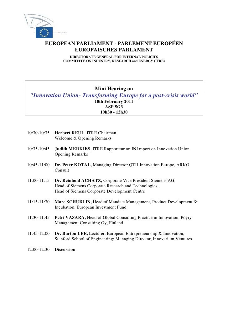 Program of Speakers - European Parliament on EU Innovation Policy - Brussels - Feb 10 2011