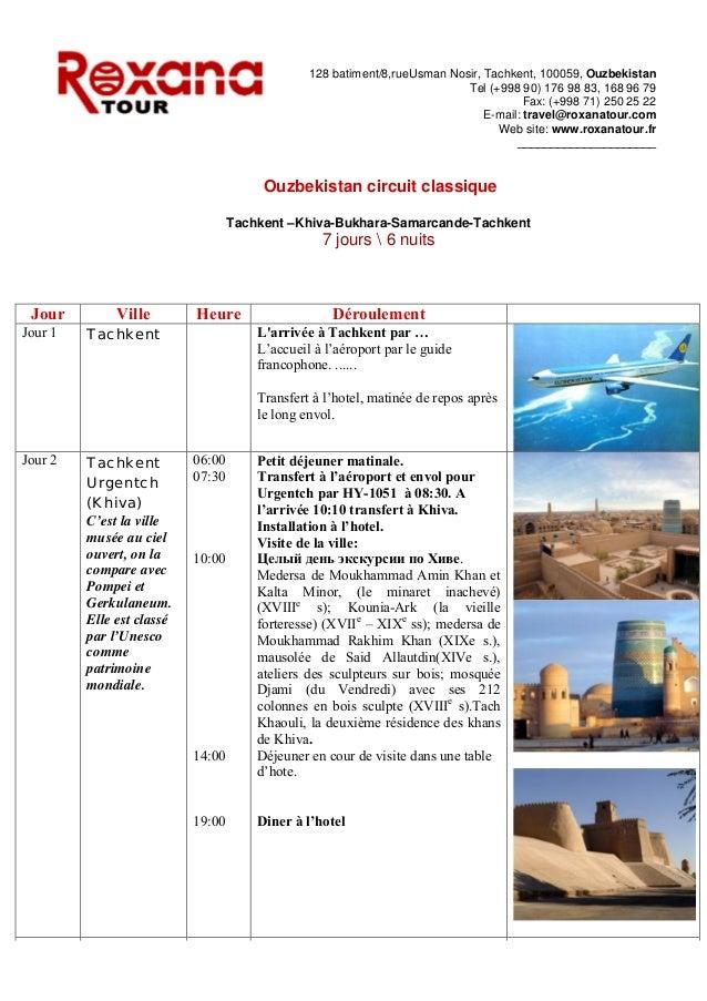 Program b 7 jours ouzbekistan circuit classique