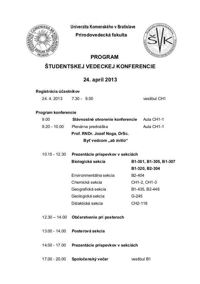 Program študentskej vedeckej konferencie PriF UK 2013
