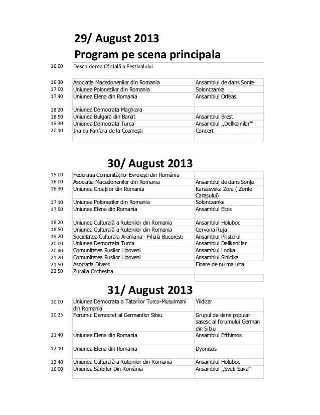 Program sighisoara