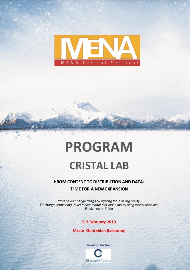 PROGRAM                   CRISTAL LAB         FROM CONTENT TO DISTRIBUTION AND DATA:               TIME FOR A NEW EXPANSIO...