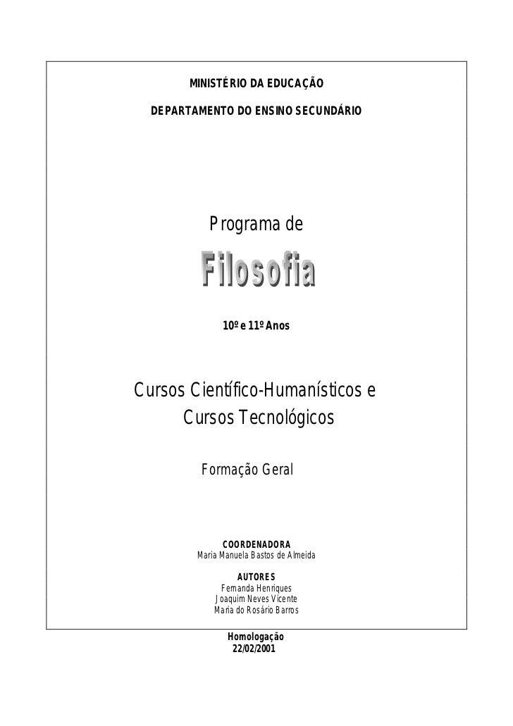 MINISTÉRIO DA EDUCAÇÃO    DEPARTAMENTO DO ENSINO SECUNDÁRIO                 Programa de                    10º e 11º Anos ...