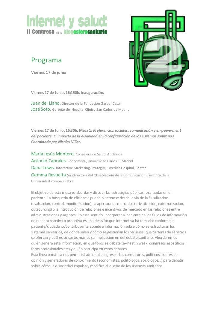 Programa II Congreso de la Blogosfera Sanitaria 'Internet y Salud'