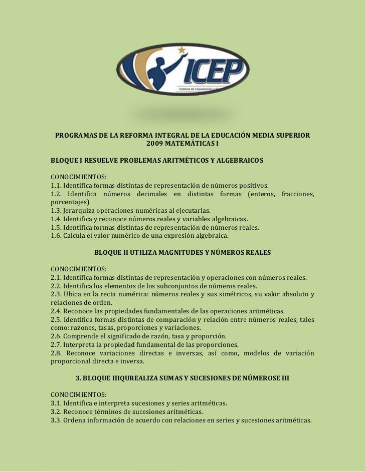 PROGRAMAS DE LA REFORMA INTEGRAL DE LA EDUCACIÓN MEDIA SUPERIOR                       2009 MATEMÁTICAS IBLOQUE I RESUELVE ...