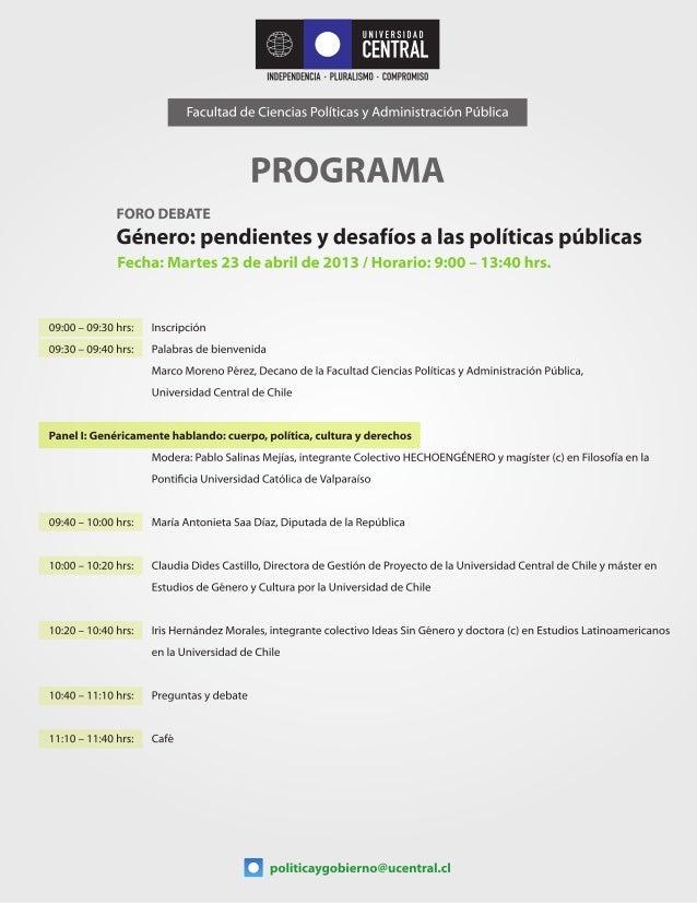 Programa Foro Debate Género: pendientes y desafíos a las políticas públicas
