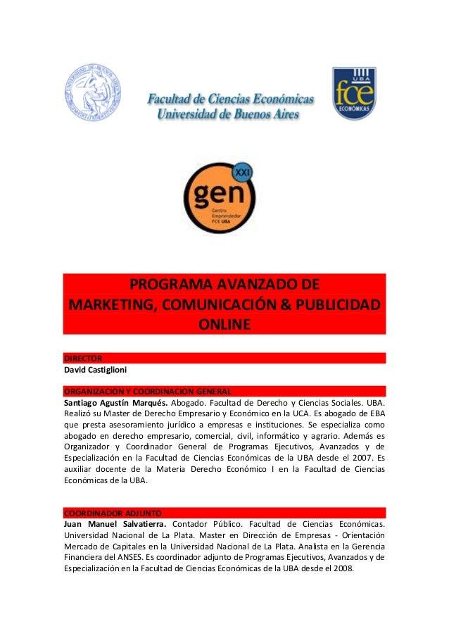 Programa Avanzado de Marketing, Comunicación & Publicidad Online -Facultad de Ciencias Económicas-Universidad de Buenos Aires