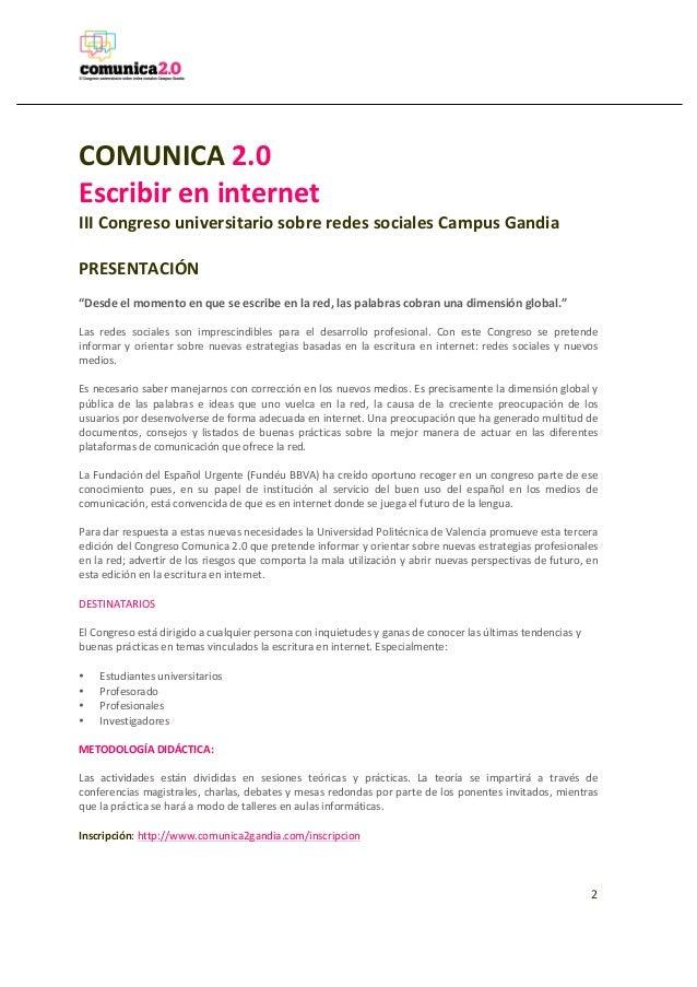 Programa del congreso Comunica2.0 ed. 2013