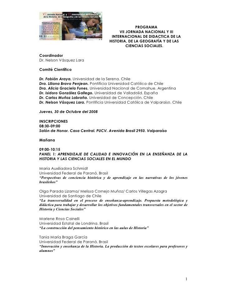 PROGRAMA                                                  VII JORNADA NACIONAL Y III                                      ...