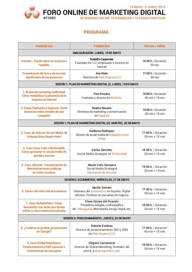 Programa foro online de marketing digital