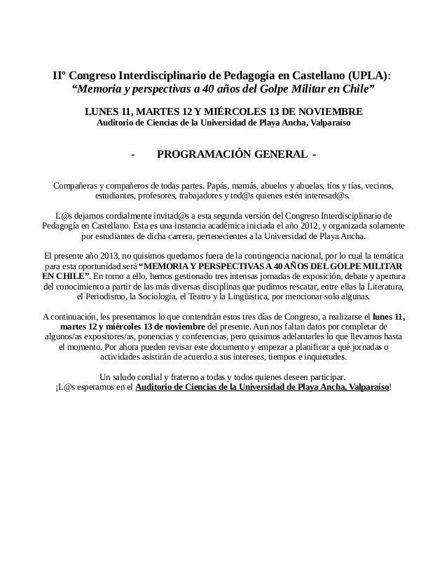 [ADELANTO] Programa General IIº Congreso Interdisciplinario A 40 años del Golpe. Noviembre 2013