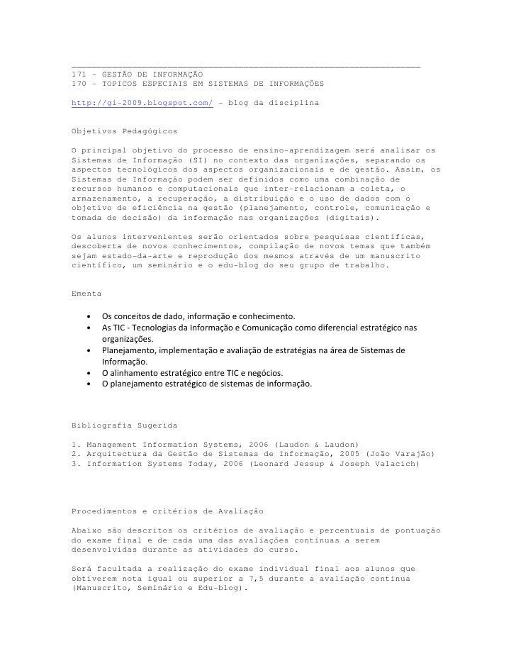 Programa Gestão da Informação e TESI
