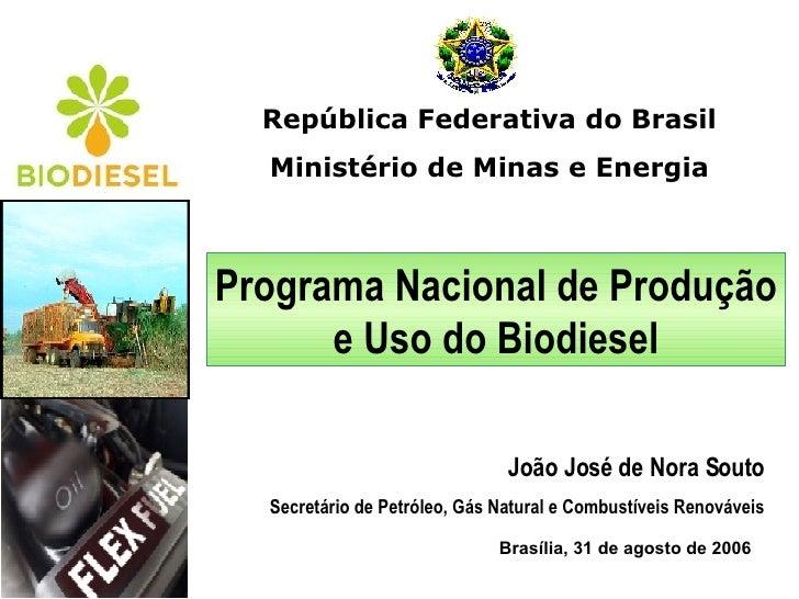 República Federativa do Brasil Ministério de Minas e Energia Brasília, 31 de agosto de 2006 Programa Nacional de Produção ...