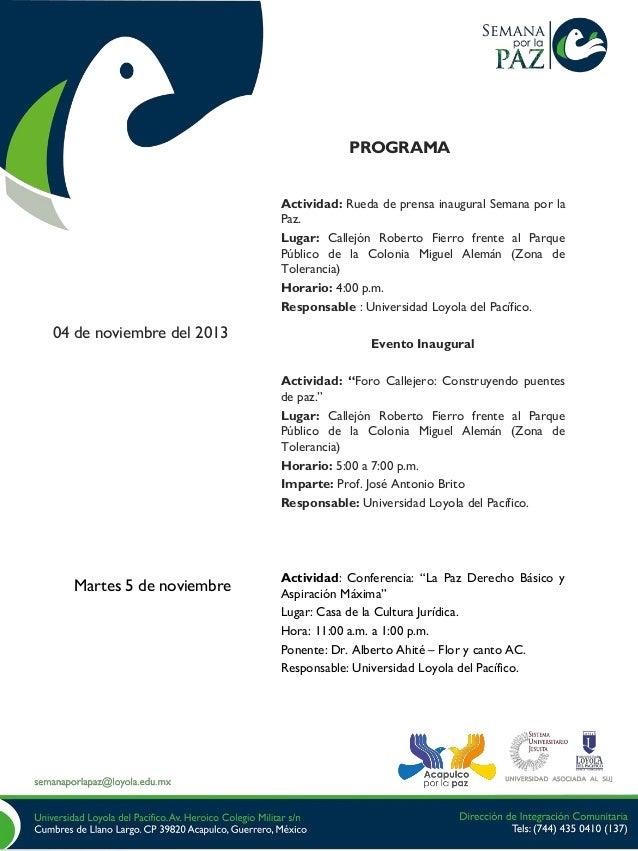 PROGRAMA Actividad: Rueda de prensa inaugural Semana por la Paz. Lugar: Callejón Roberto Fierro frente al Parque Público d...