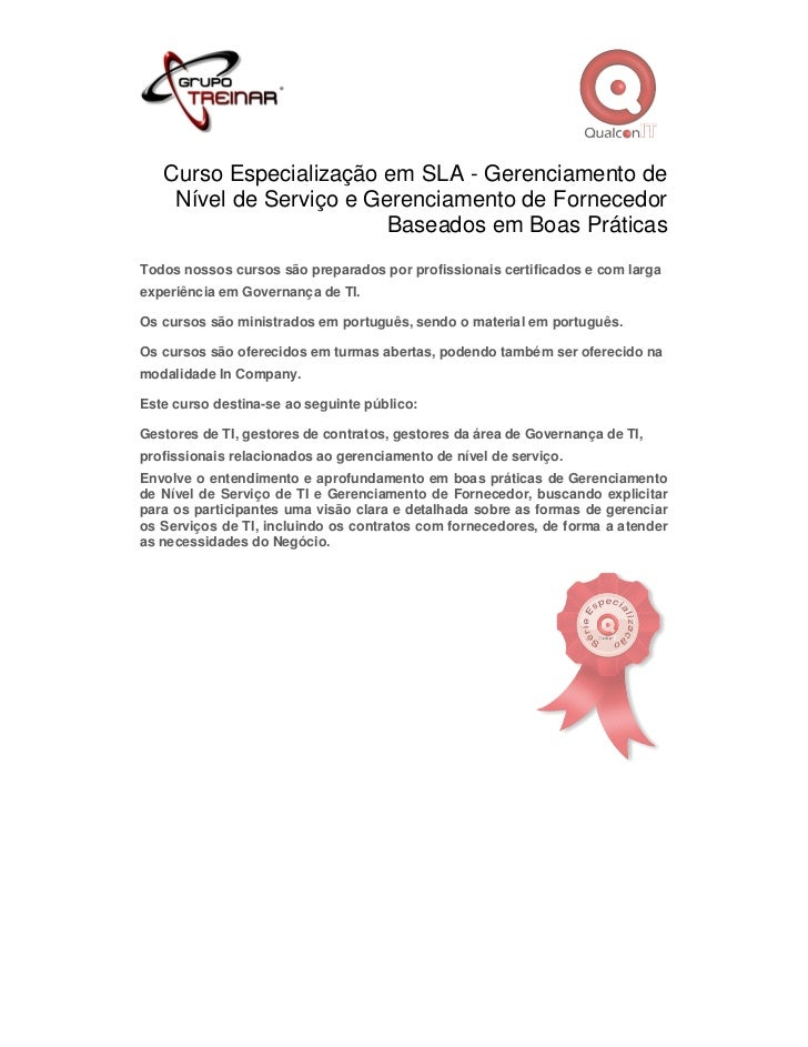 Curso Especialização em SLA - Gerenciamento de    Nível de Serviço e Gerenciamento de Fornecedor                         B...